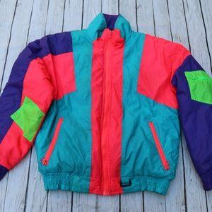 Vtg 80s Alpine Ski NEON Multi-Color Jacket
